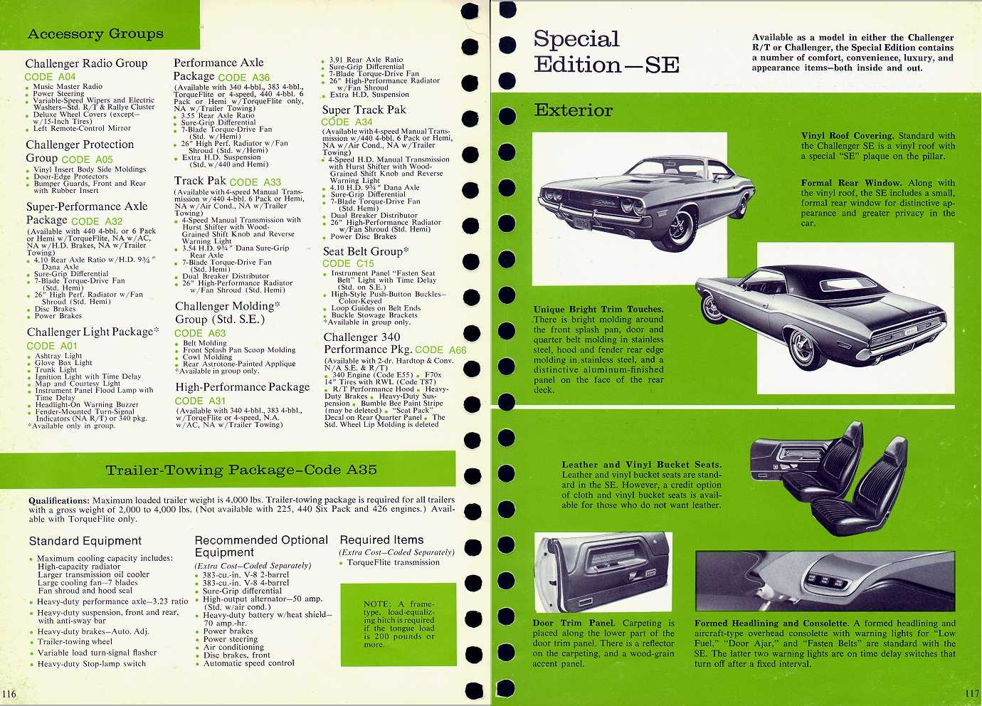 Kellys cars dodge challenger 1970 a scan of the packages from the 1970 challenger brocure nvjuhfo Images